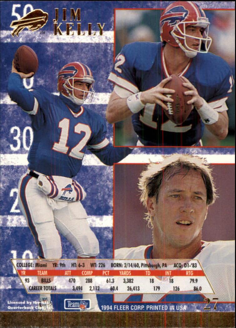 1994 Ultra #27 Jim Kelly back image