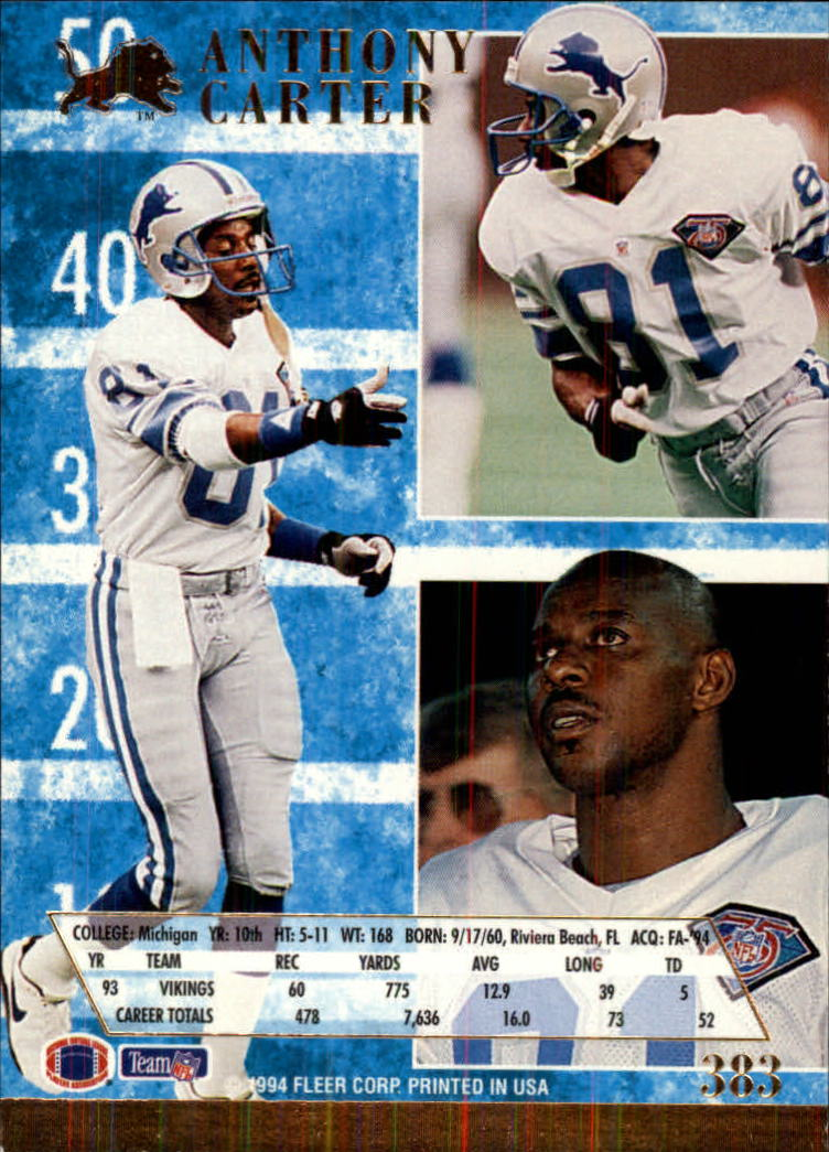 1994 Ultra #383 Anthony Carter back image