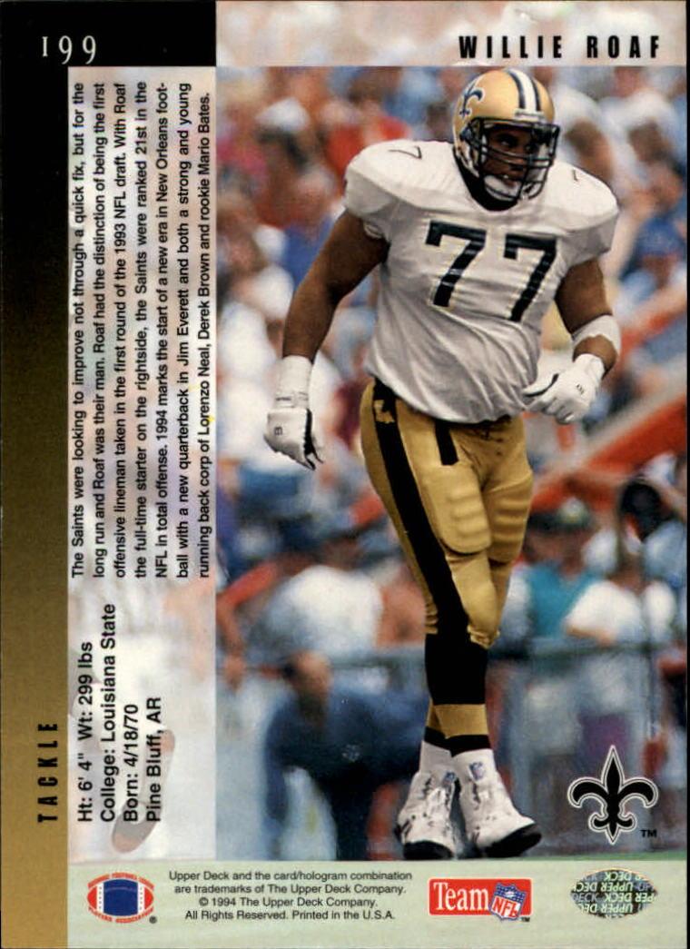 1994 Upper Deck #199 Willie Roaf back image