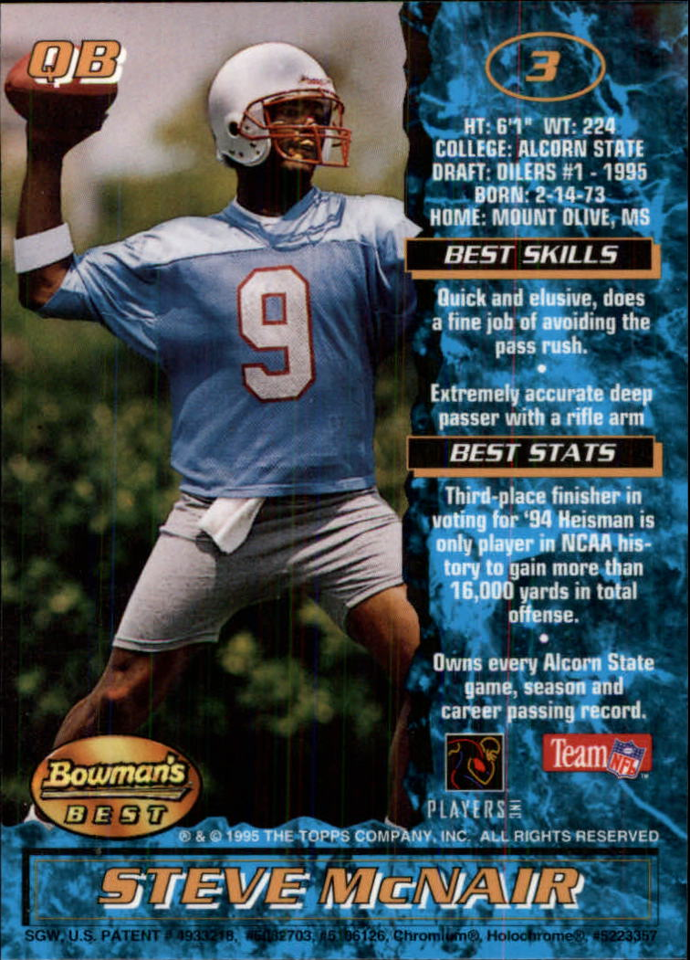 1995 Bowman's Best #R3 Steve McNair RC back image