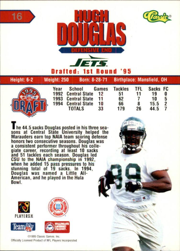 1995 Classic NFL Rookies Silver #16 Hugh Douglas back image