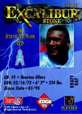 1995 Excalibur Challengers Draft Day Rookie Redemption Prizes #DD19 Steve McNair back image