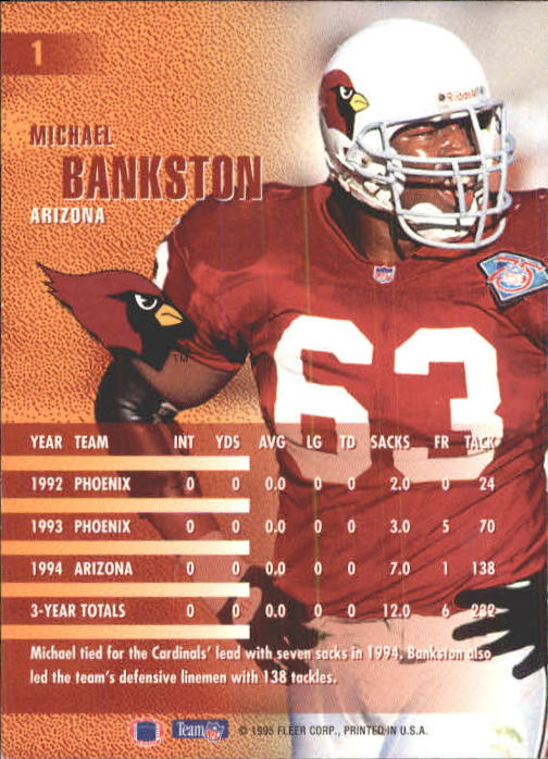 1995 Fleer #1 Michael Bankston back image