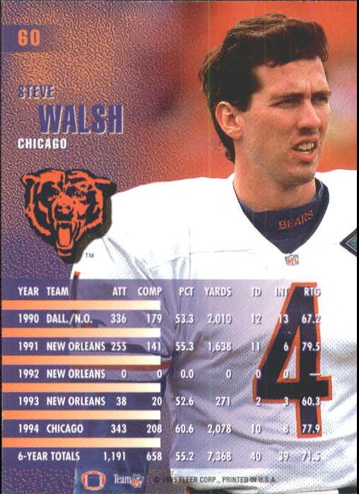 1995 Fleer #60 Steve Walsh back image