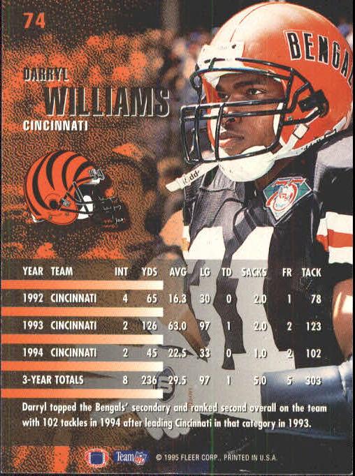 1995 Fleer #74 Darryl Williams back image