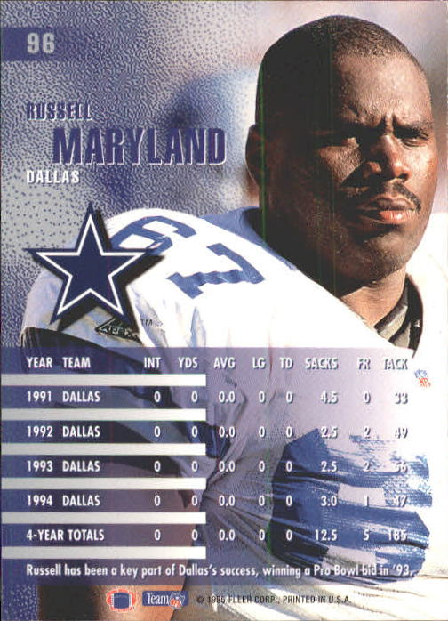 1995 Fleer #96 Russell Maryland back image