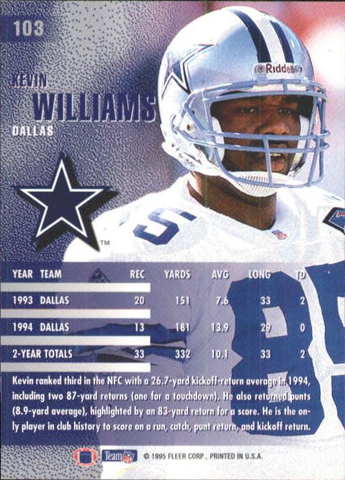 1995 Fleer #103 Kevin Williams WR back image