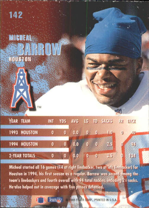 1995 Fleer #142 Micheal Barrow back image