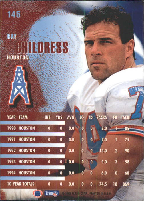 1995 Fleer #145 Ray Childress back image