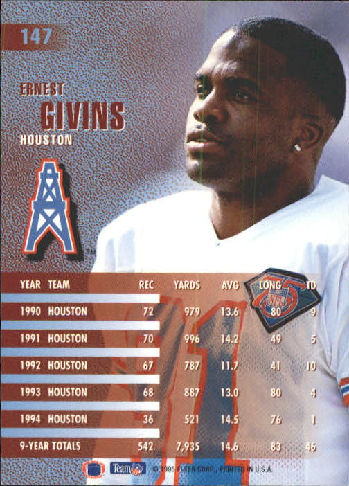 1995 Fleer #147 Ernest Givins back image