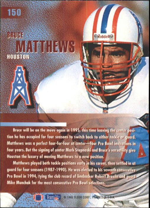1995 Fleer #150 Bruce Matthews back image
