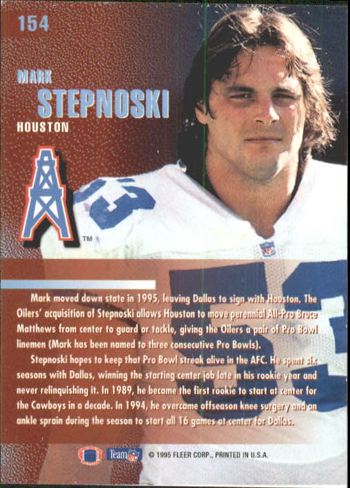 1995 Fleer #154 Mark Stepnoski back image