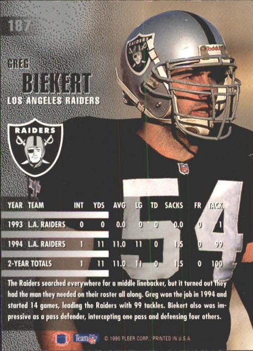 1995 Fleer #187 Greg Biekert back image
