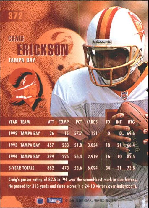 1995 Fleer #372 Craig Erickson back image