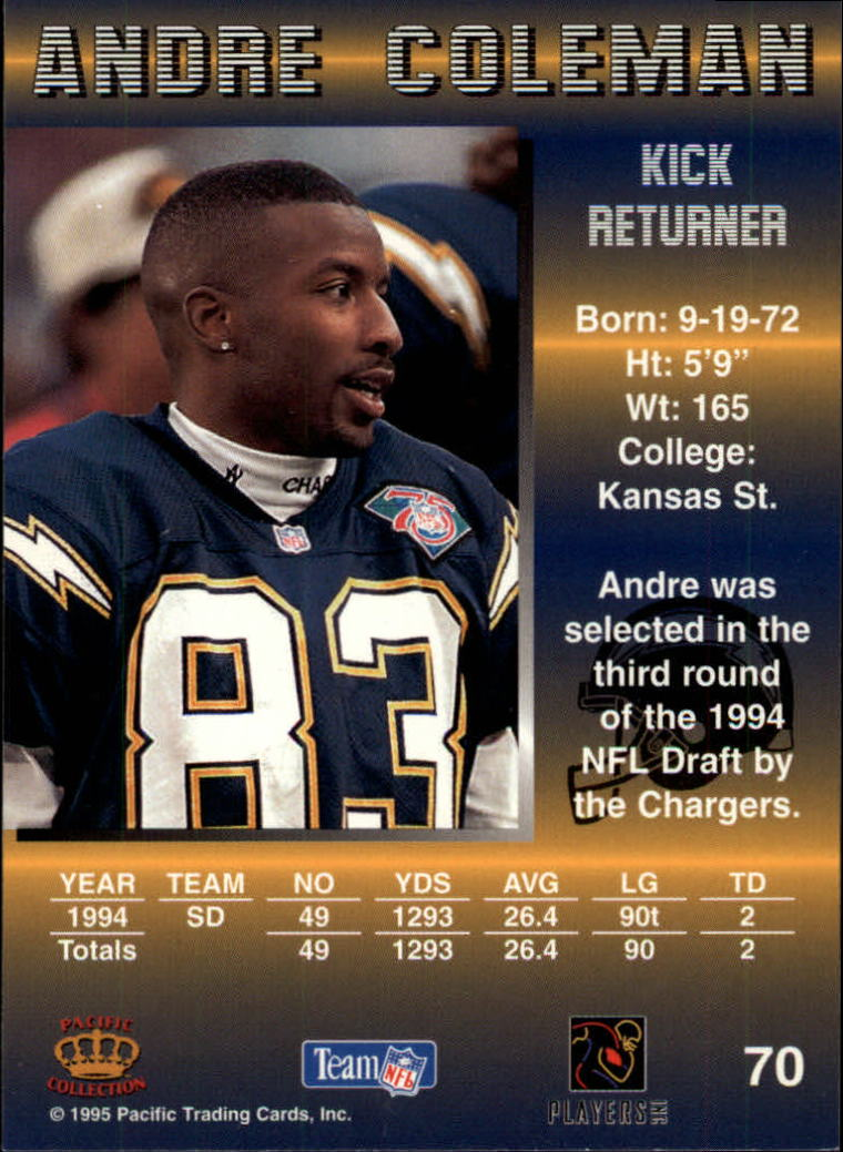 1995 Pacific #70 Andre Coleman back image