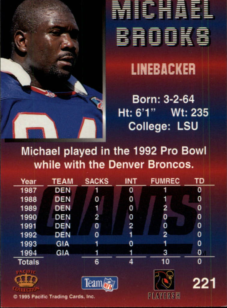 1995 Pacific #221 Michael Brooks back image