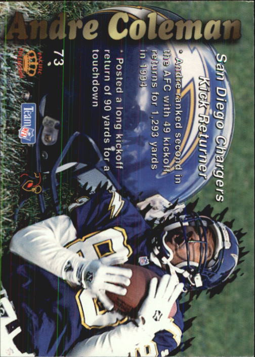 1995 Pacific Prisms #73 Andre Coleman back image