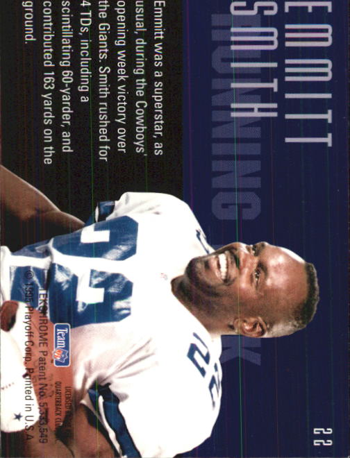 1995 Playoff Contenders #22 Emmitt Smith back image