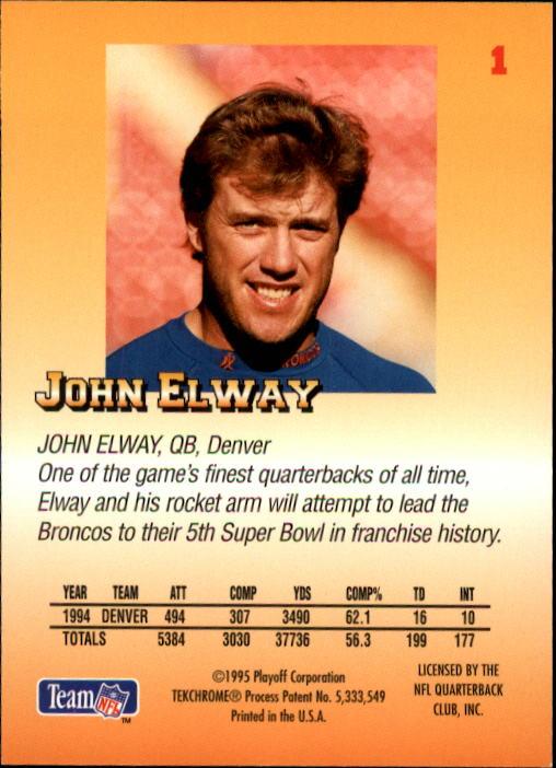 1995 Playoff Prime #1 John Elway back image