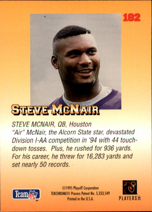 1995 Playoff Prime #182 Steve McNair RC back image