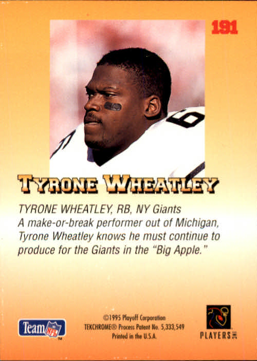 1995 Playoff Prime #191 Tyrone Wheatley RC back image