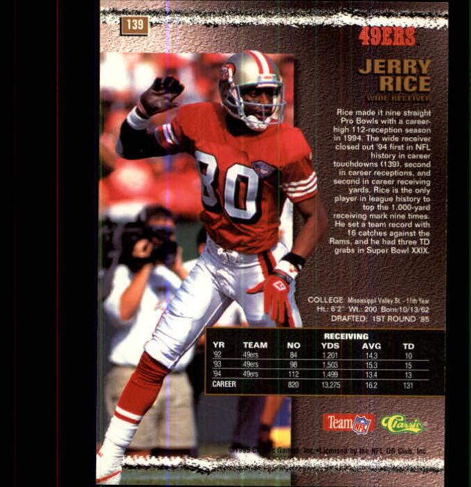 1995 Pro Line #139 Jerry Rice back image