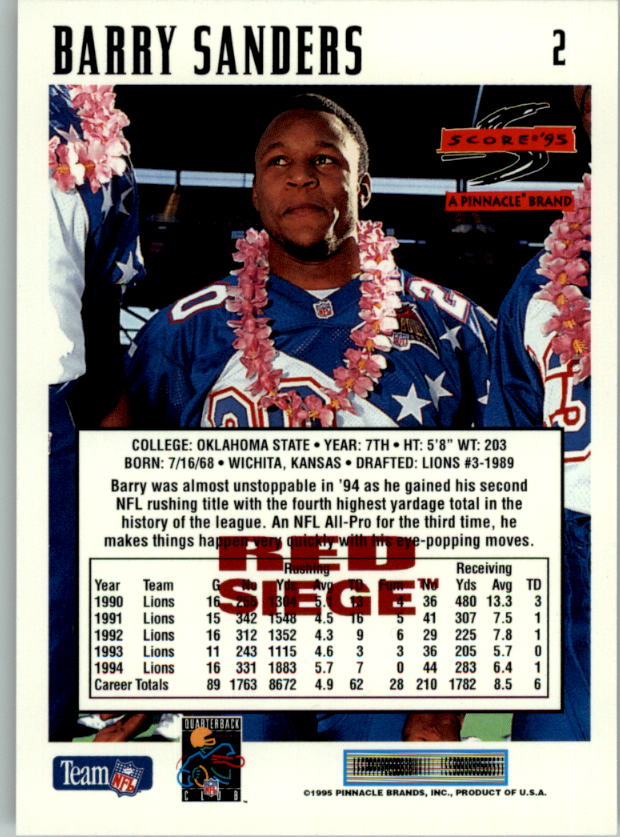 1995 Score Red Siege #2 Barry Sanders back image