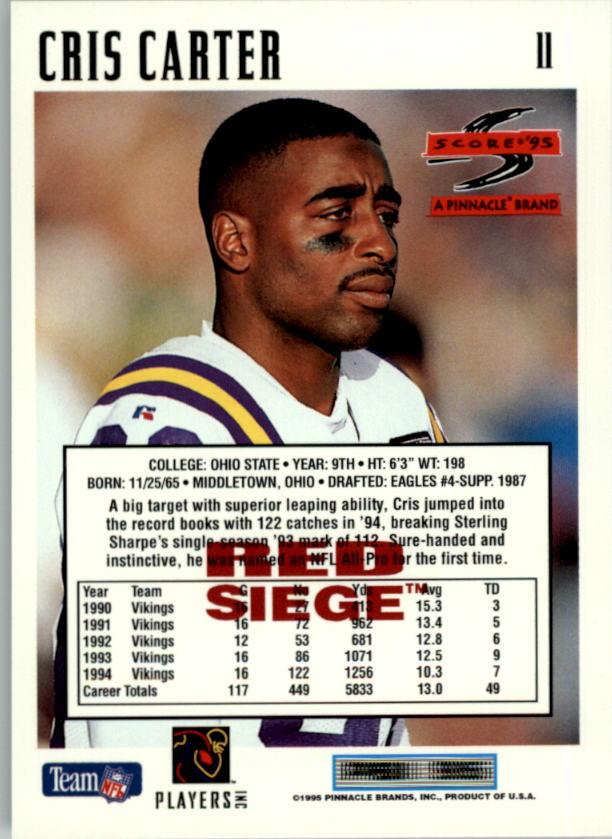 1995 Score Red Siege #11 Cris Carter back image