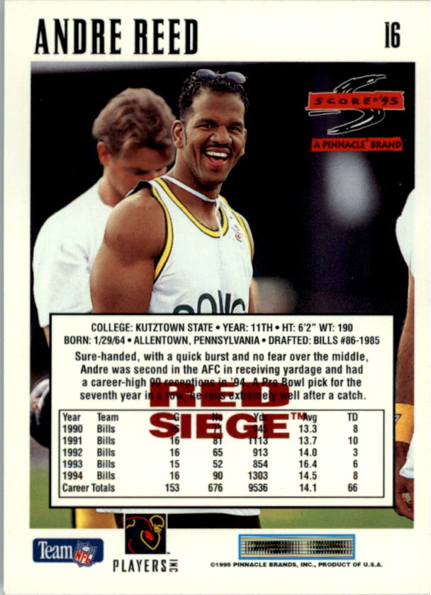 1995 Score Red Siege #16 Andre Reed back image