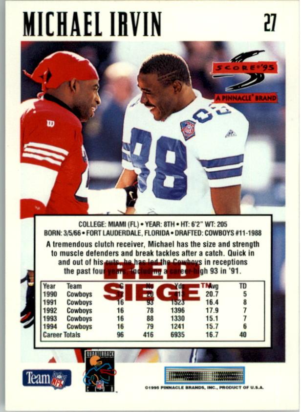 1995 Score Red Siege #27 Michael Irvin back image