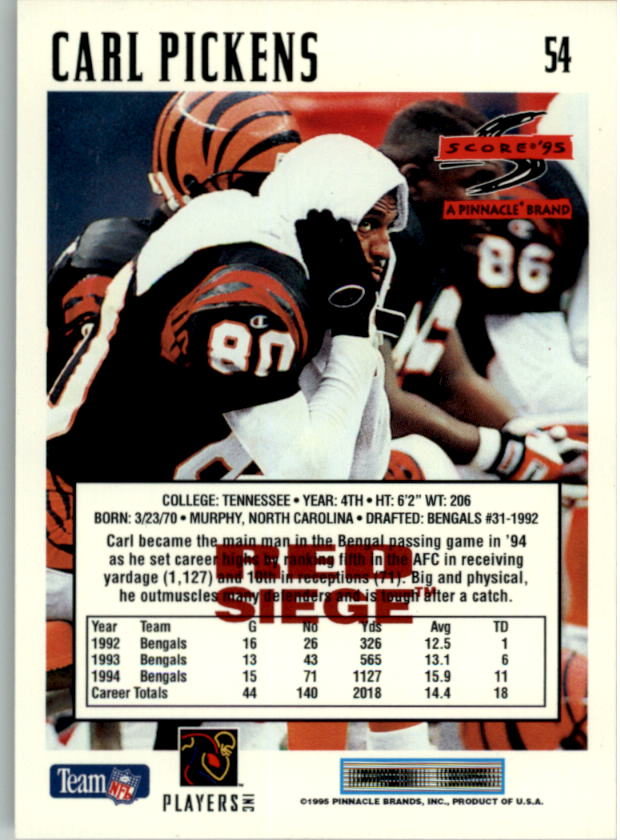 1995 Score Red Siege #54 Carl Pickens back image
