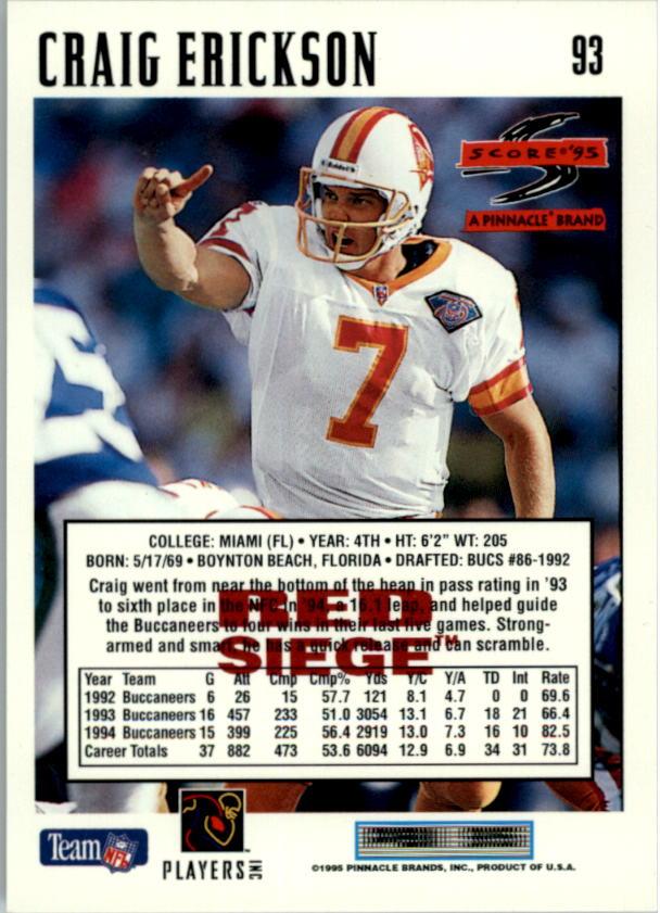 1995 Score Red Siege #93 Craig Erickson back image