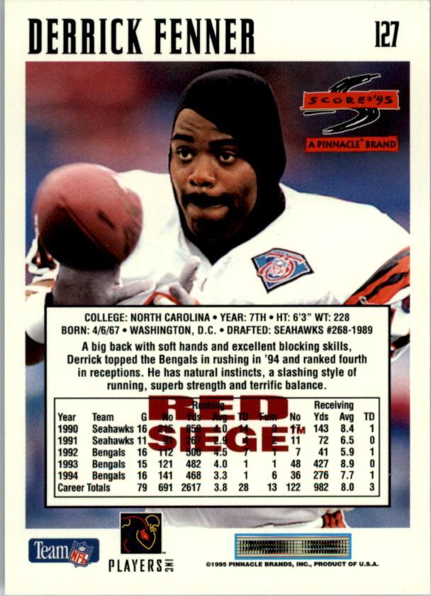1995 Score Red Siege #127 Derrick Fenner back image