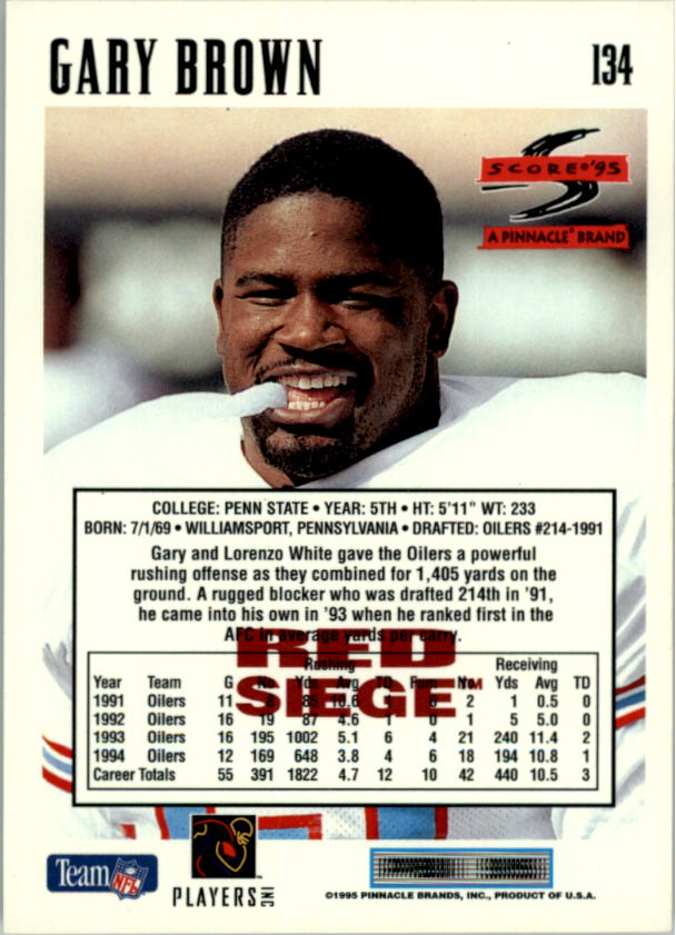 1995 Score Red Siege #134 Gary Brown back image