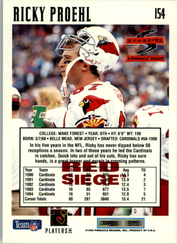 1995 Score Red Siege #154 Ricky Proehl back image