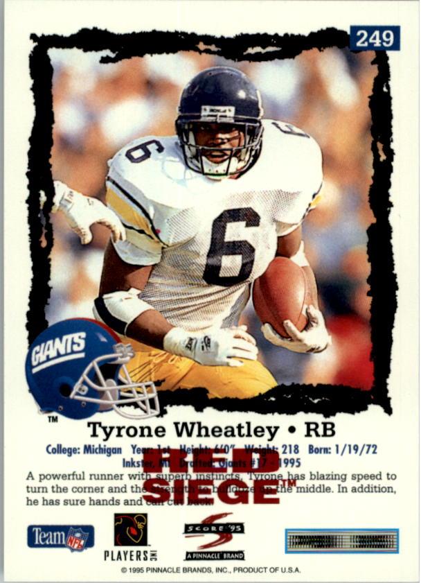 1995 Score Red Siege #249 Tyrone Wheatley back image