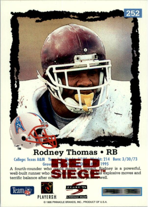 1995 Score Red Siege #252 Rodney Thomas back image