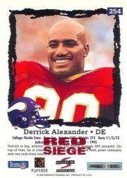 1995 Score Red Siege #254 Derrick Alexander DE back image