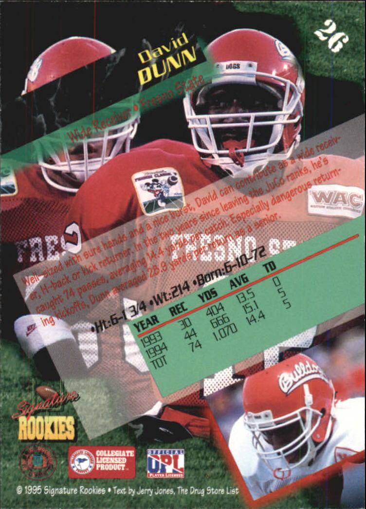 1995 Signature Rookies Autographs #26 David Dunn back image