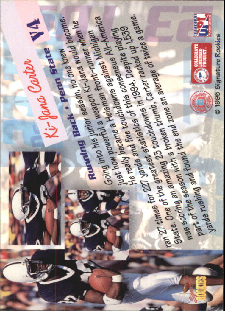 1995 Signature Rookies Peripheral Vision #V4 KI-Jana Carter back image