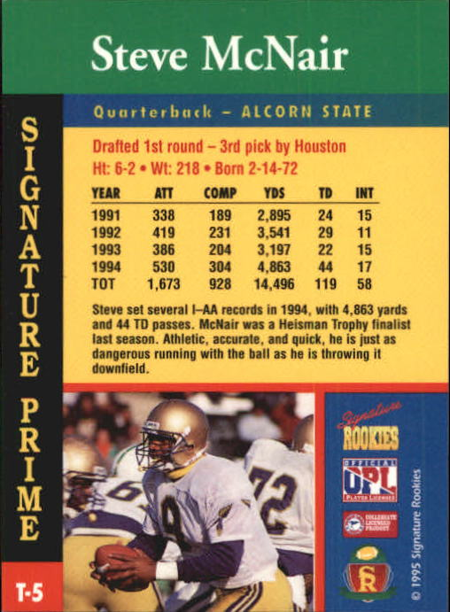 1995 Signature Rookies Signature Prime TD Club #T5 Steve McNair back image