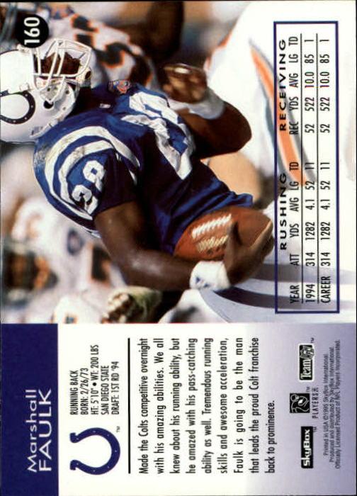 1995 SkyBox Impact #160 Marshall Faulk SS back image