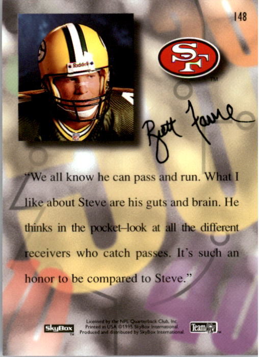 1995 SkyBox Premium #148 Steve Young/Favre back image