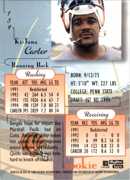 1995 SkyBox Premium #159 Ki-Jana Carter RC back image