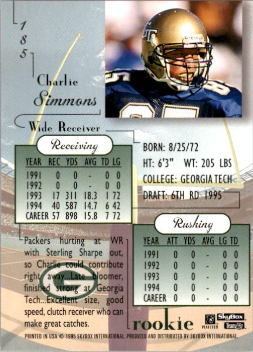 1995 SkyBox Premium #185 Charlie Simmons RC back image