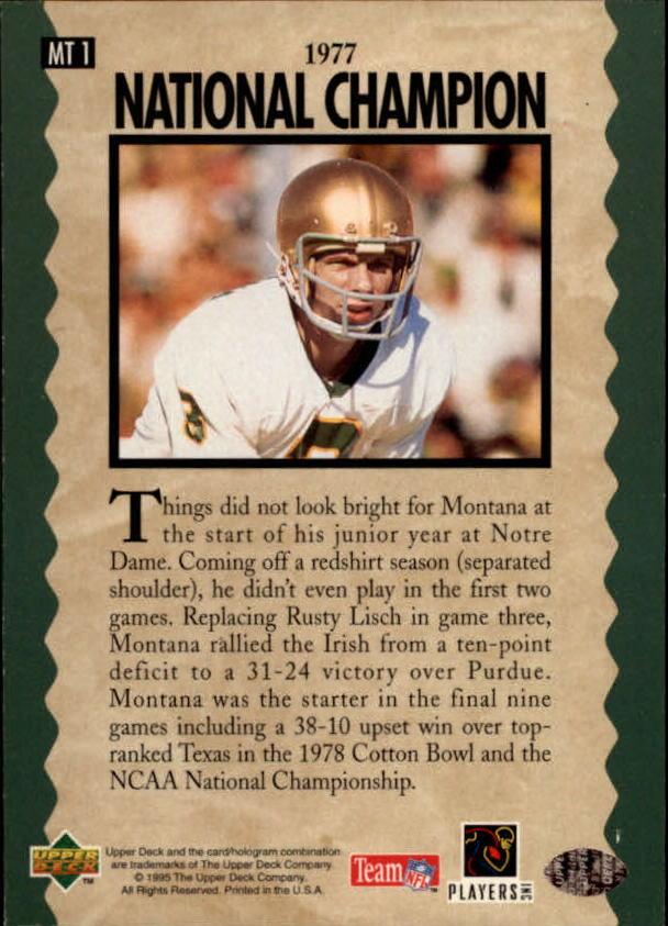1995 Upper Deck Joe Montana Trilogy #MT1 Joe Montana back image