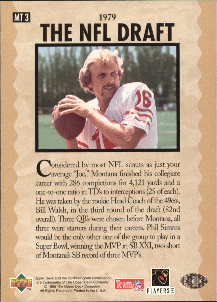 1995 Upper Deck Joe Montana Trilogy #MT3 Joe Montana back image