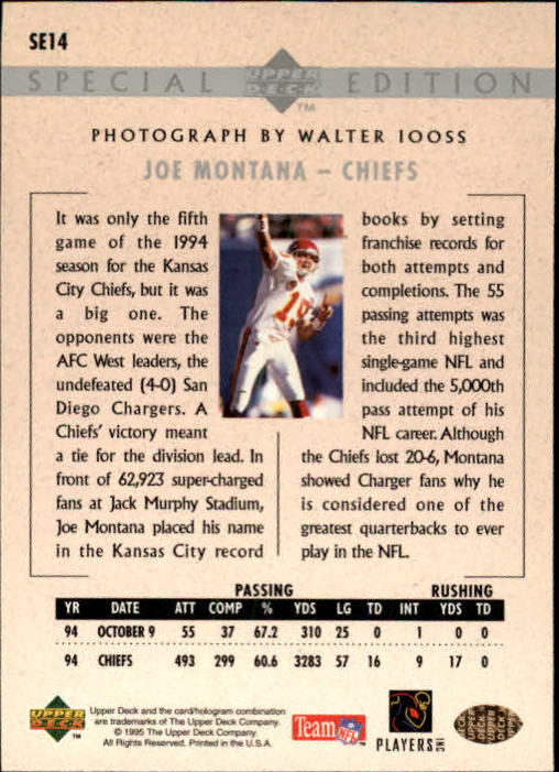 1995 Upper Deck Special Edition #SE14 Joe Montana back image