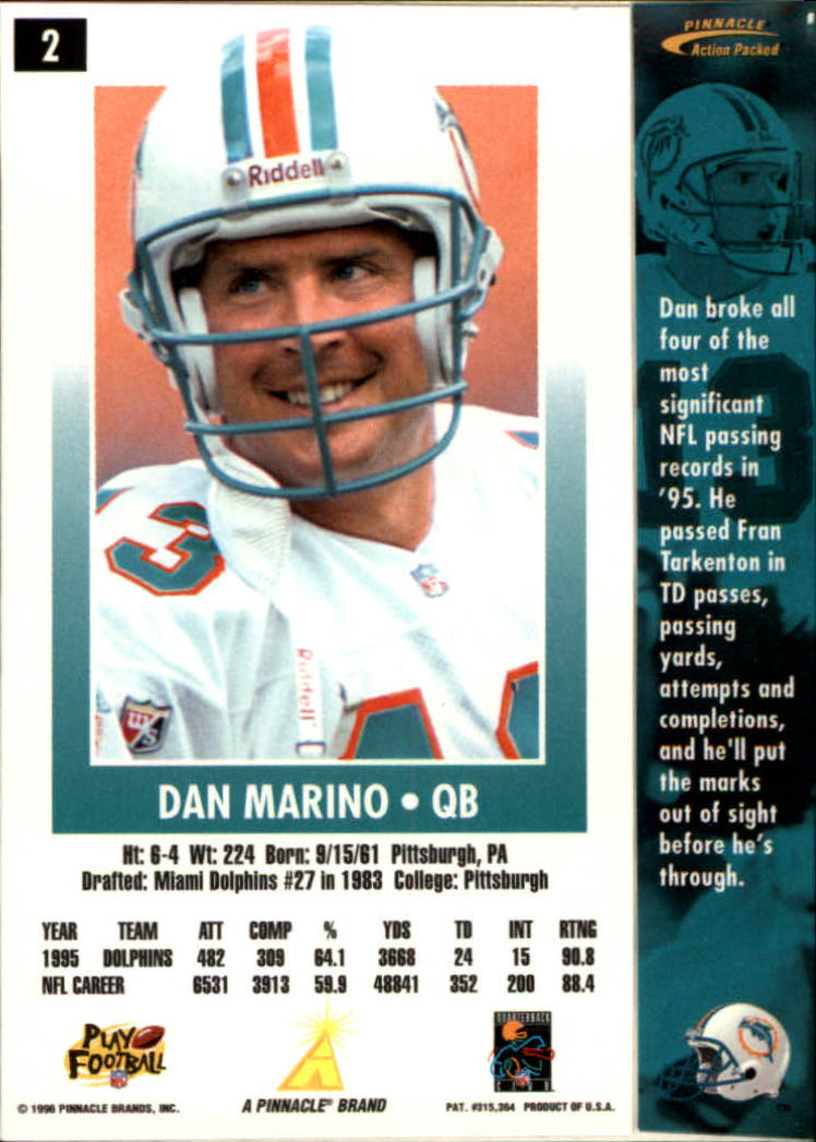 1996 Action Packed #2 Dan Marino back image