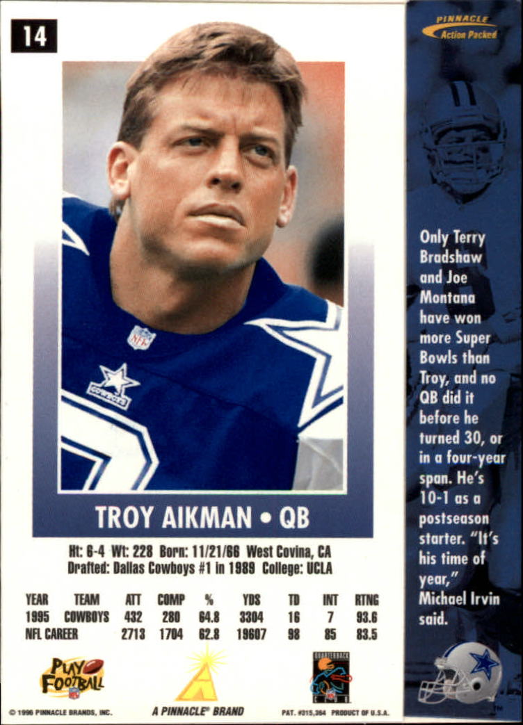 1996 Action Packed #14 Troy Aikman back image